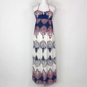 En Creme Bohemian Convertible Halter Maxi Dress